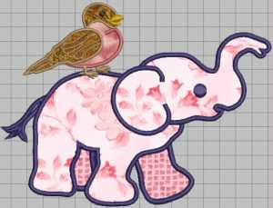elephant & robin applique satin stitch1